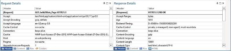 HTTP header details in Network Sniffer GUI